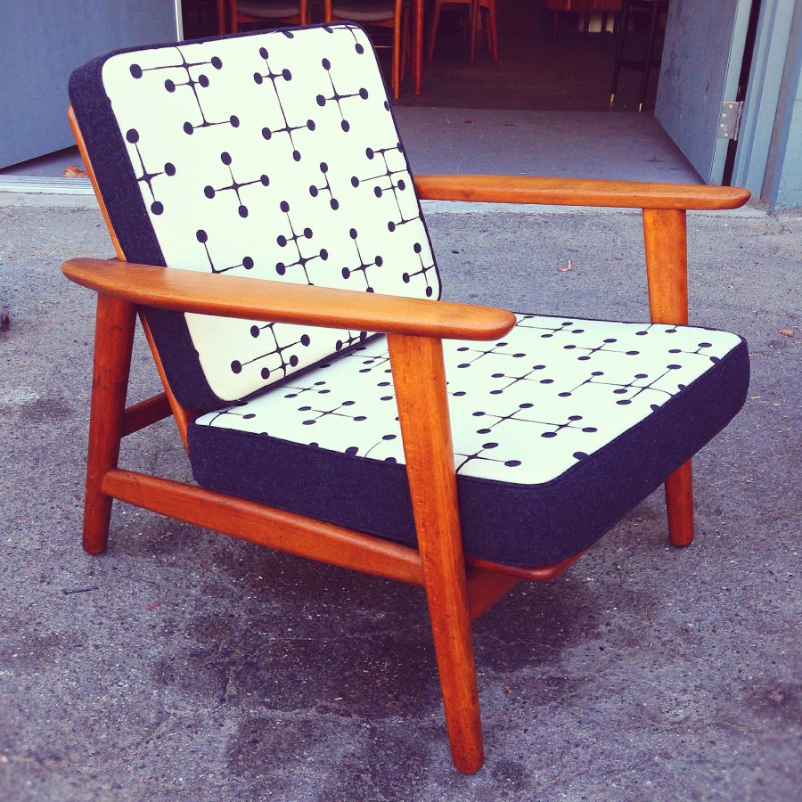 A Danish modern lounge chair by Mid Century Mobler utilizing Maharam's dot pattern reproduction fabric.