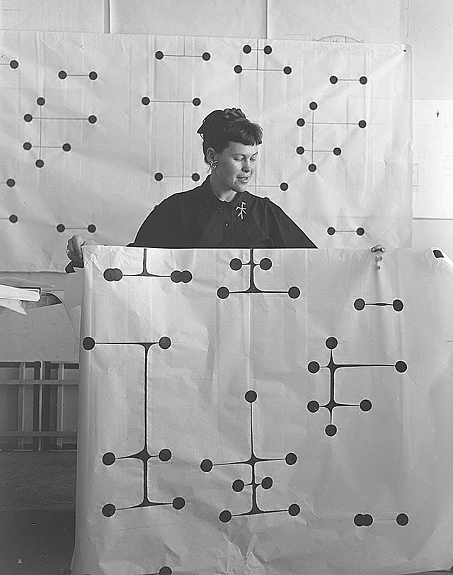 Ray Eames with original dot pattern design