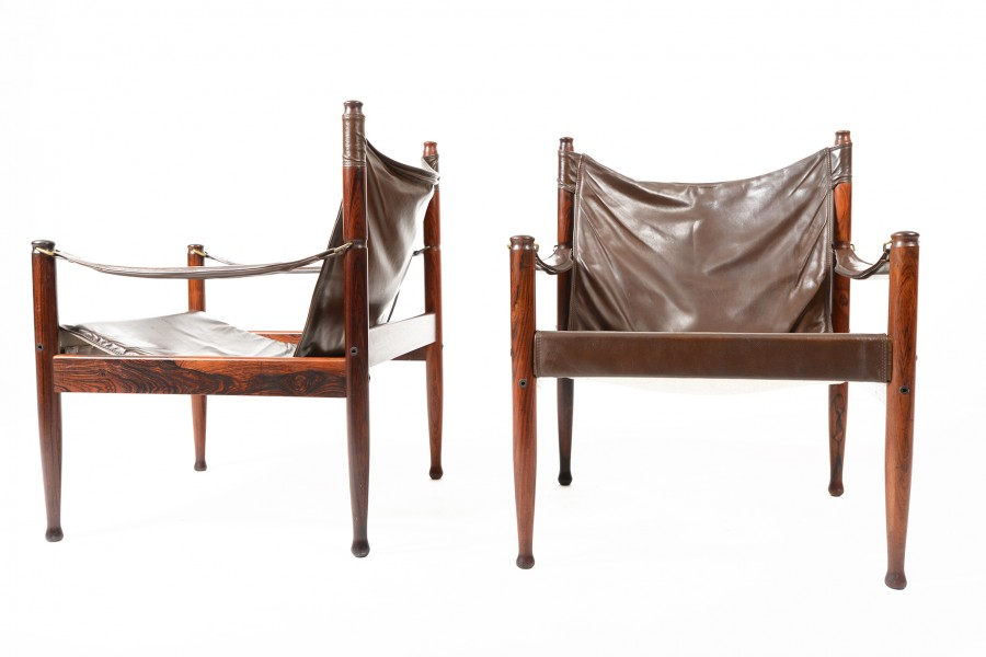 Pair of Erik Worts Rosewood Safari Chairs
