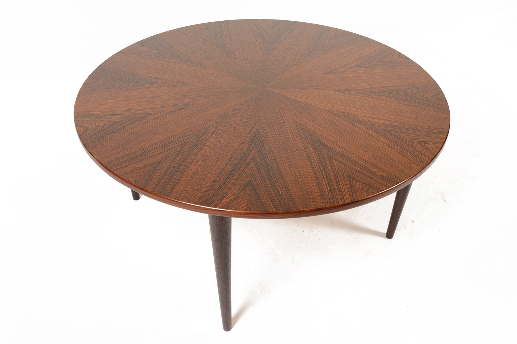DANISH MODERN ROUND STARBURST ROSEWOOD COFFEE TABLE • Mid Century