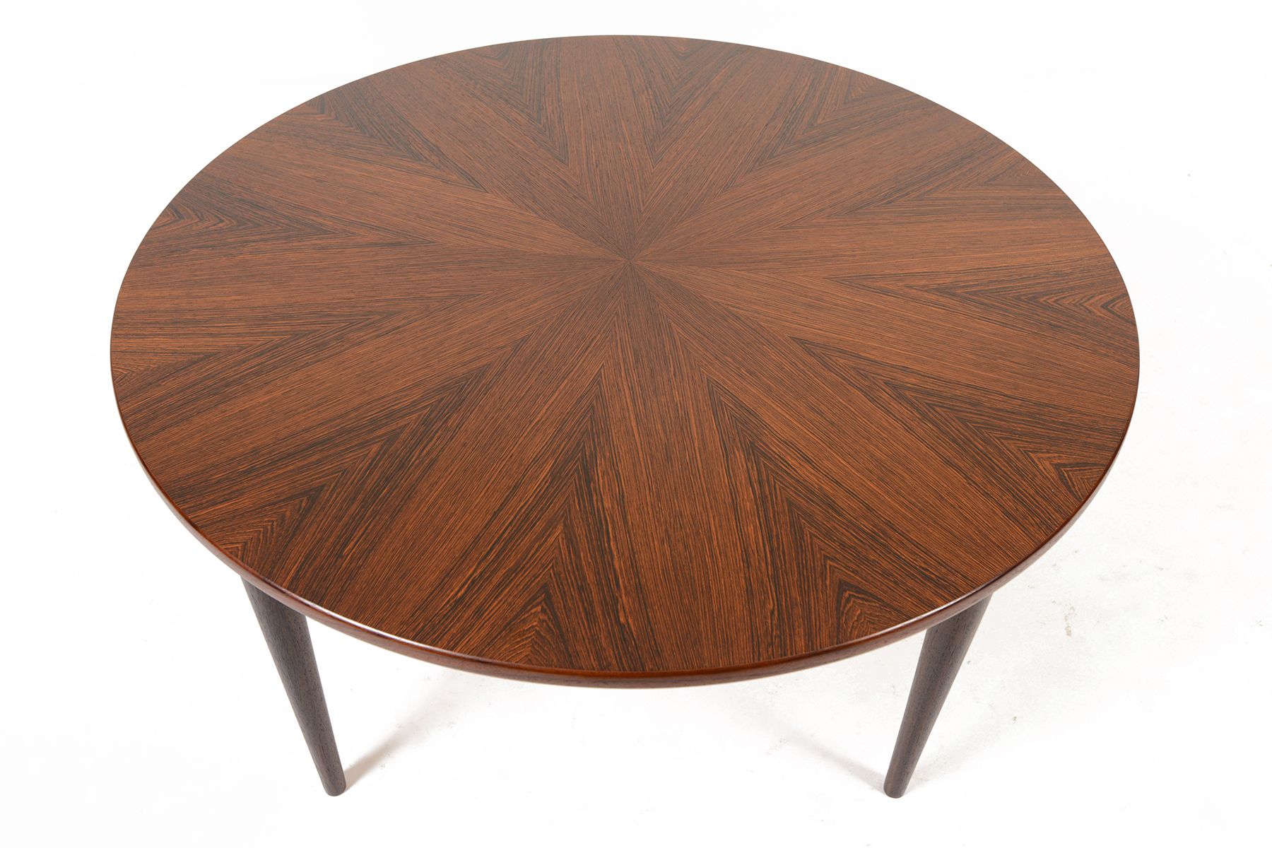 Danish Modern Round Starburst Rosewood Coffee Table