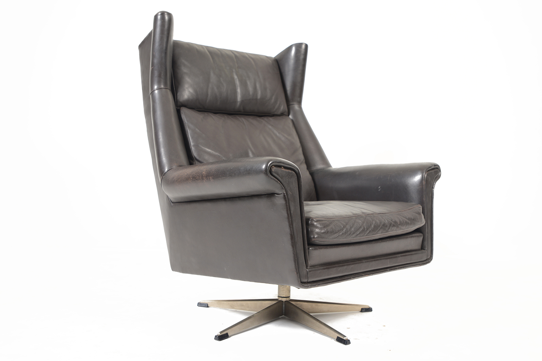 Surprising Danish Modern Black Leather Highback Swivel Lounge Chair Caraccident5 Cool Chair Designs And Ideas Caraccident5Info