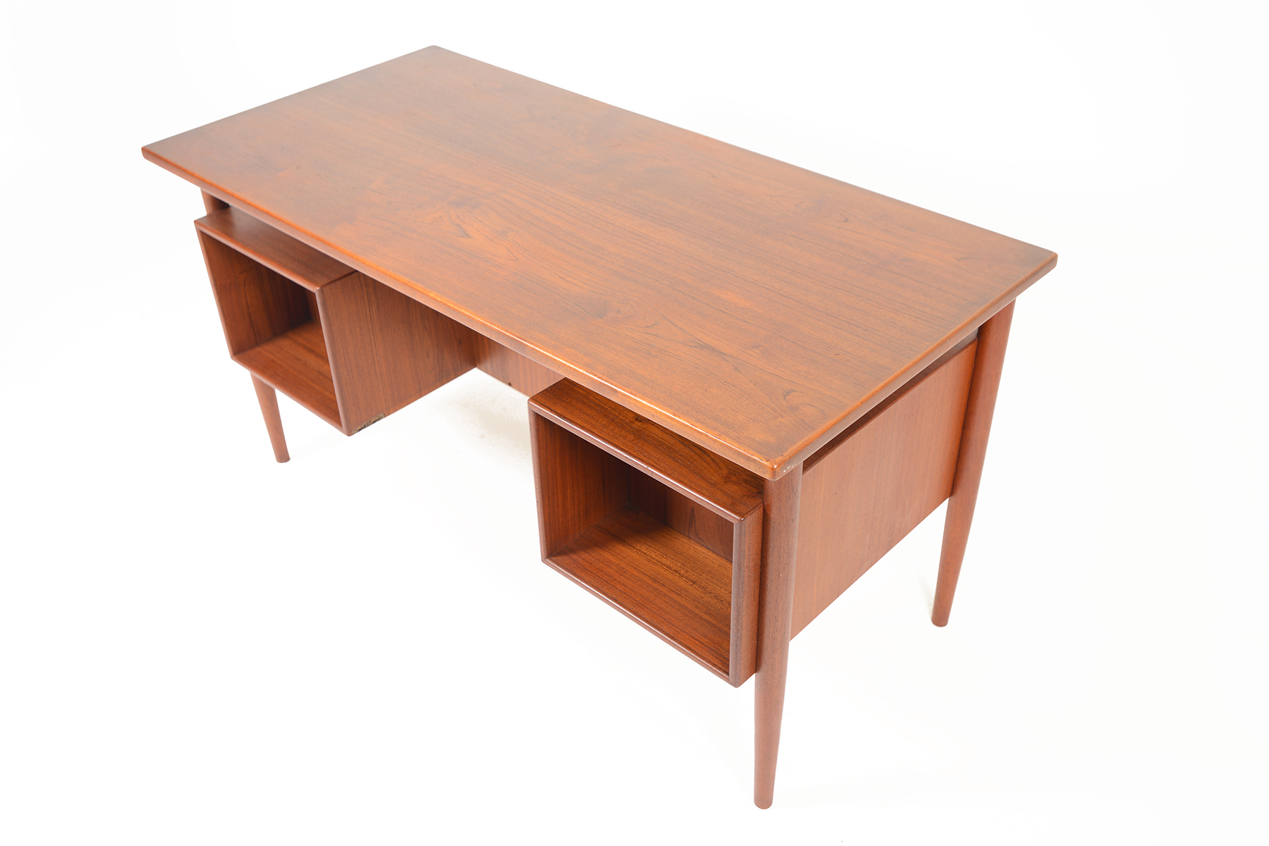 Danish modern floating top teak desk mid century mobler for Floating desk for sale